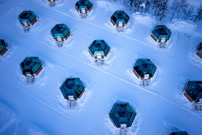 Glass Igloos Of Arctic Snowhotel In Rovaniemi In Lapland
