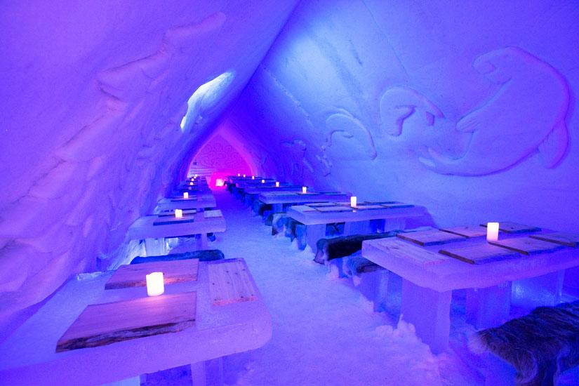 Icerestaurant Of Arctic Snow Hotel In Lapland Arctic
