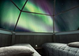 Northern lights viewed from Arctic Snowhotel in Rovaniemi in Lapland, Finland