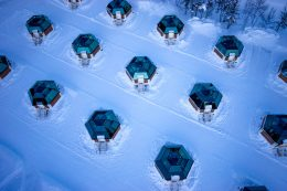 Glass Igloos of Arctic Snowhotel in Rovaniemi in Lapland, Finland