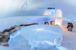 Ice Bar of Arctic SnowHotel in Rovaniemi in Finland