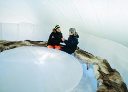 Ice bar of the Arctic SnowHotel in Rovaniemi in Finland