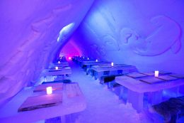 Icerestaurant of Arctic Snow Hotel in Lapland
