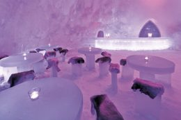 Icebar of Arctic Snowhotel in Rovaniemi in Lapland