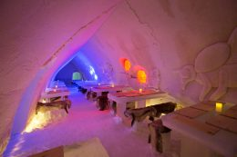 Icerestaurant of Arctic Snowhotel in Rovaniemi in Lapland, Finland