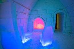 Icy fire place in Arctic Snowhotel in Rovaniemi in Lapland