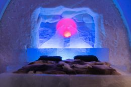 A suite of  Arctic SnowHotel in Rovaniemi in Lapland